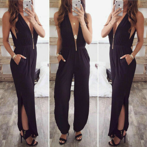 2019 Womens Sexy Deep V Neck Jumpsuit Sleeveless Romper Backless Playsuit Woman Clubwear Ladies Party Suit Solid Color Outfits