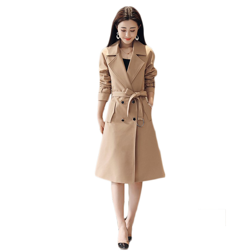 Windbreaker female 2019 spring autumn new temperament puls size loose casual   trench   coat women Double-breasted long coats d012