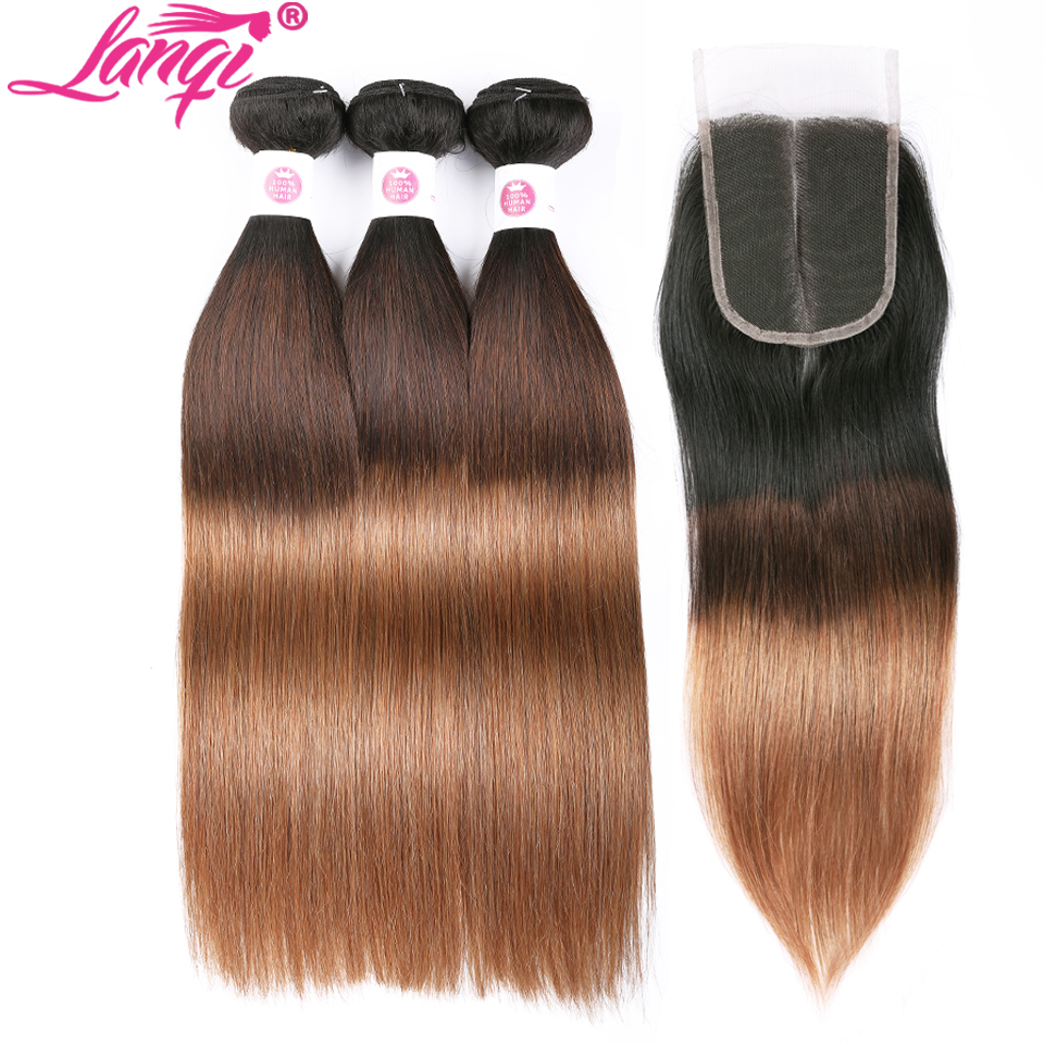 Peruvian hair Straight dark roots blonde hair bundles with closure 1b/4/30 lanqi 3 tone ombre human hair weave with lace closure-in 3/4 Bundles with Closure from Hair Extensions & Wigs    1