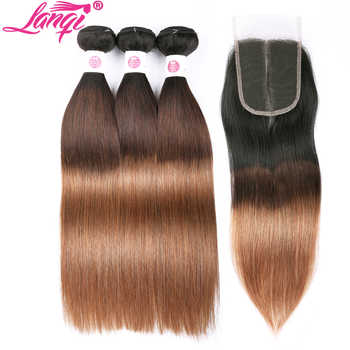 Peruvian hair Straight dark roots blonde hair bundles with closure 1b/4/30 lanqi 3 tone ombre human hair weave with lace closure - SALE ITEM - Category 🛒 Hair Extensions & Wigs