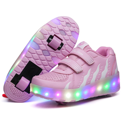 Two Wheels Luminous Sneakers on Wheels Led Light Roller Skate Shoes for Children Kids Led Shoes Boys Girls Shoes Light Up Unisex