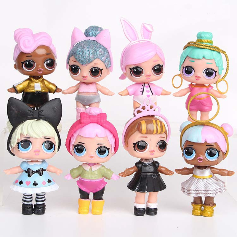 8pcs/set Lol Girl Dolls In Ball  PVC Action Figure glitter Doll Toy Kids Egg Toys Birthday Gift For Girls Kids patrulla canina with shield brinquedos 6pcs set 6cm patrulha canina patrol puppy dog pvc action figures juguetes kids hot toys