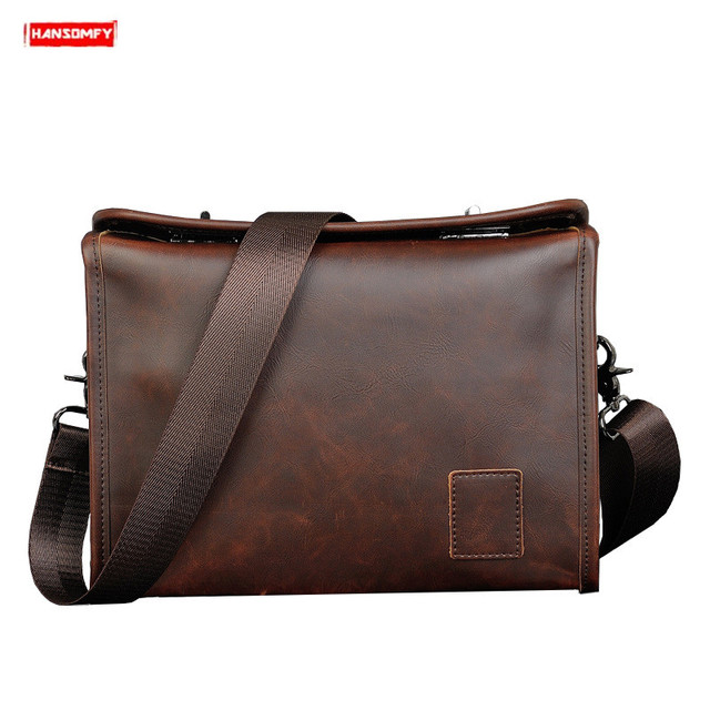 Original crazy horse leather men shoulder bag casual retro Messenger bag male handbag Double twist lock design crossbody bag