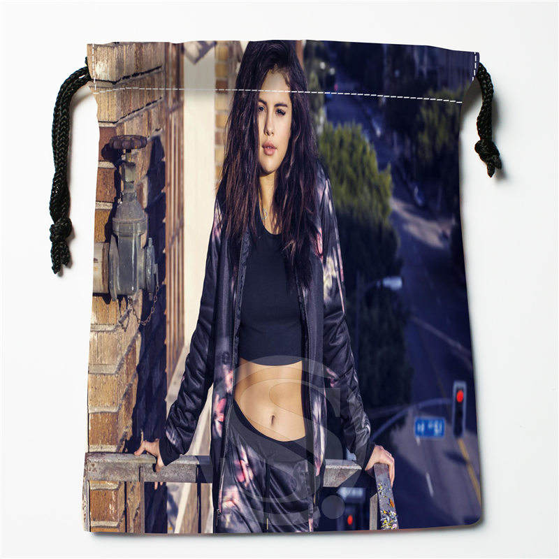 T&w131 New Selena Gomez &1 Custom Printed  Receive Bag Compression Type Drawstring Bags Size 18X22cm F725&T131sd