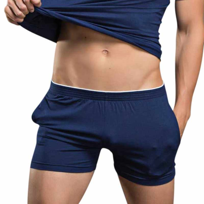New Modal Sexy Men Underwear Boxers Shorts Mens Domiciliary Trunks Smooth Sleepwear Underpants with Side Pockets for Male W1