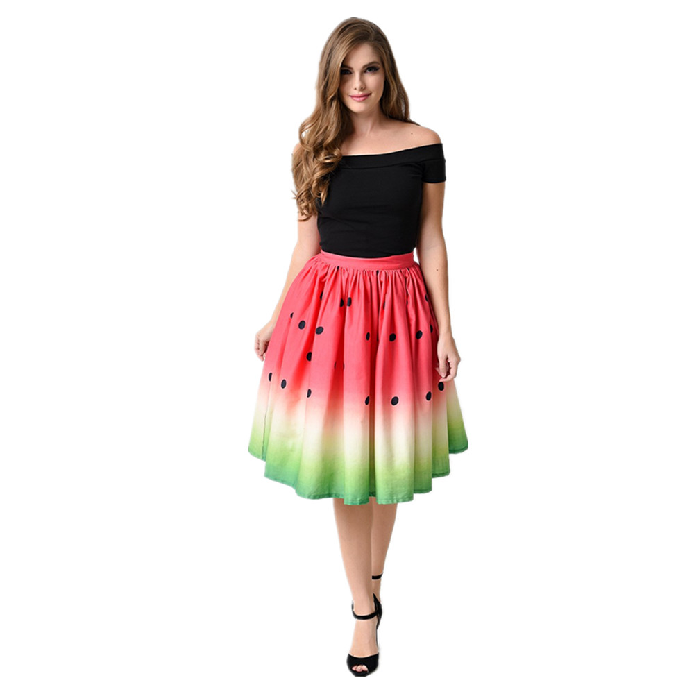 2019 summer fashion women's polyester casual digital print red watermelon mid-calf <font><b>ball</b></font> gown <font><b>skirts</b></font> for sweet girls separate image