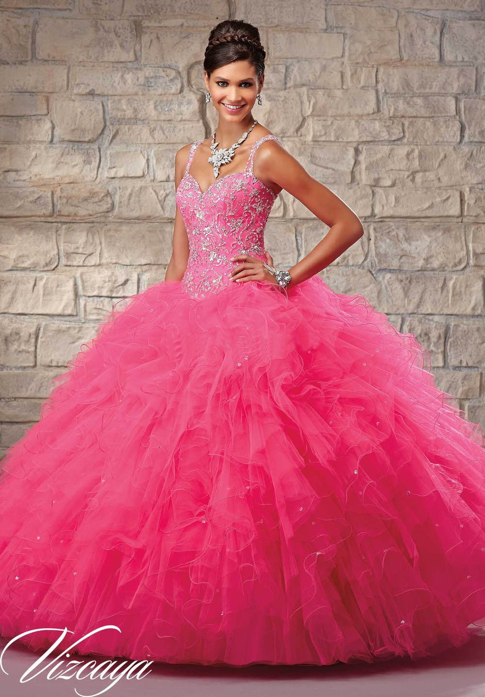 vestido debutante 15 anos Sweetheart Pink Quinceanera Dress Ball Gown Ruffles vestidos de quinceanera 2015 Prom Organza - Weddings & Events Collection store
