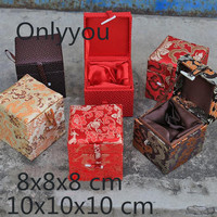 Handmade China Small Wooden Jewelry Box Square Cube Silk Fabric Gift Box Packaging High End Soft Collection Box Decoration