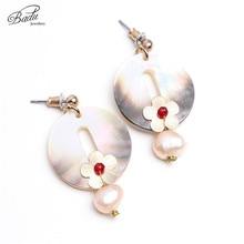 Badu Round Natural Shell Earrings for Women Pink Freshwater Pearl Dangle Earring Bohemian Fashion Jewelry Gift Girls