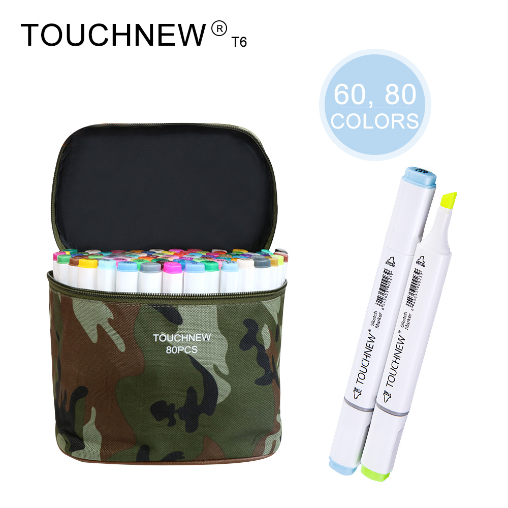 TOUCHNEW T6 60/80 colors dual-tip white barrel sketch markers camouflage bag for drawing painting design manga promotion touchfive 80 color art marker set fatty alcoholic dual headed artist sketch markers pen student standard