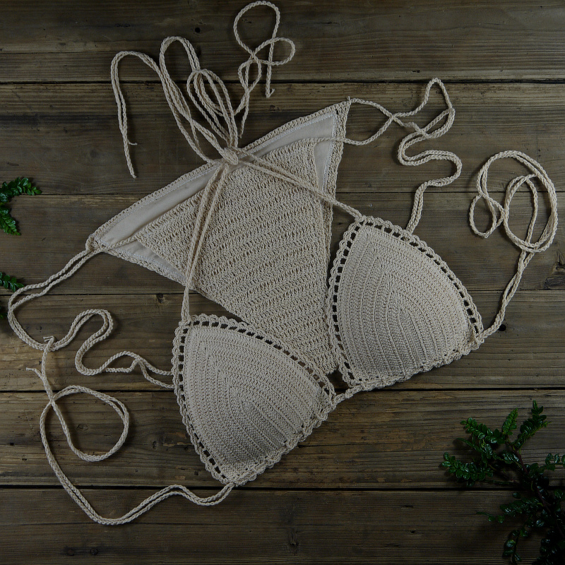 13 Color Women's Swimwear Push Up Swimsuit Handmade Crochet Bikini Sets Lining Swim Trunks