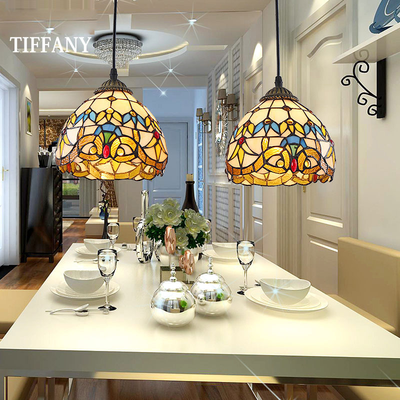 European Tiffany Retro Mediterranean LED Pastoral Stained Glass Pendant Lights Luminaria Teto Hanging Lamps For Home Decoration european retro coloured drawing rose glass pendant lights classical rural e27 led lamps for parlor