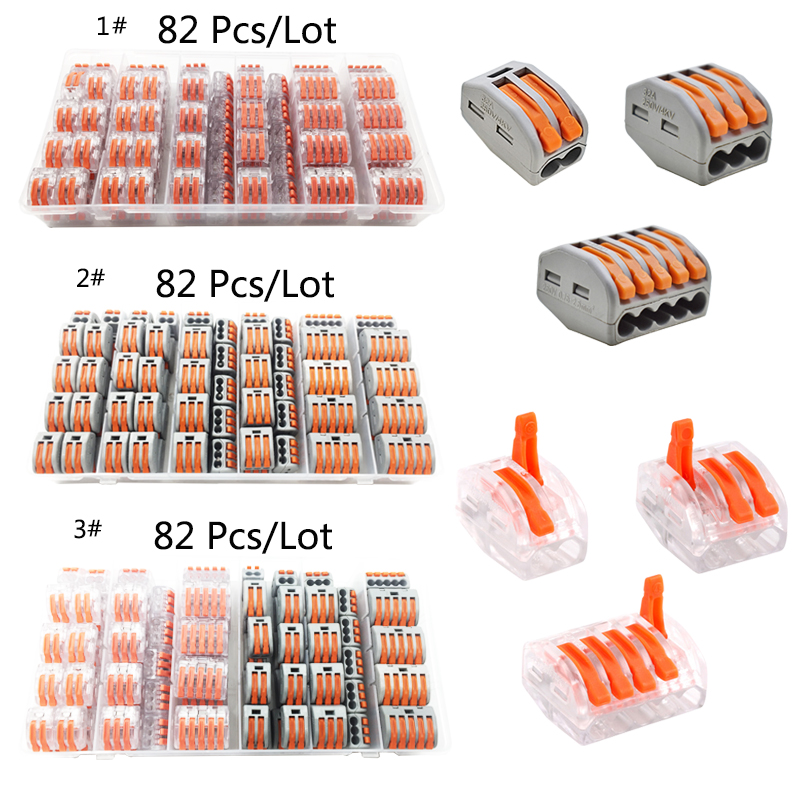 Universal Compact Wiring Connector Push-type terminal block wire lamp quick wiring terminal soft and hard wire splitter wire connector terminal block connector row column fast spring push type docking three ch 3