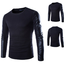 2015 New Autumn Winter Fashion Men's Korean Personality PU Leather Splice O-Neck Long Sleeve T Shirt
