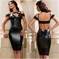 Большое содействие леди сексуальный черный кожаный кружева с глубоким вырезом спагетти ремень спинки бантом миди Bodycon карандаш платье на лето клуб