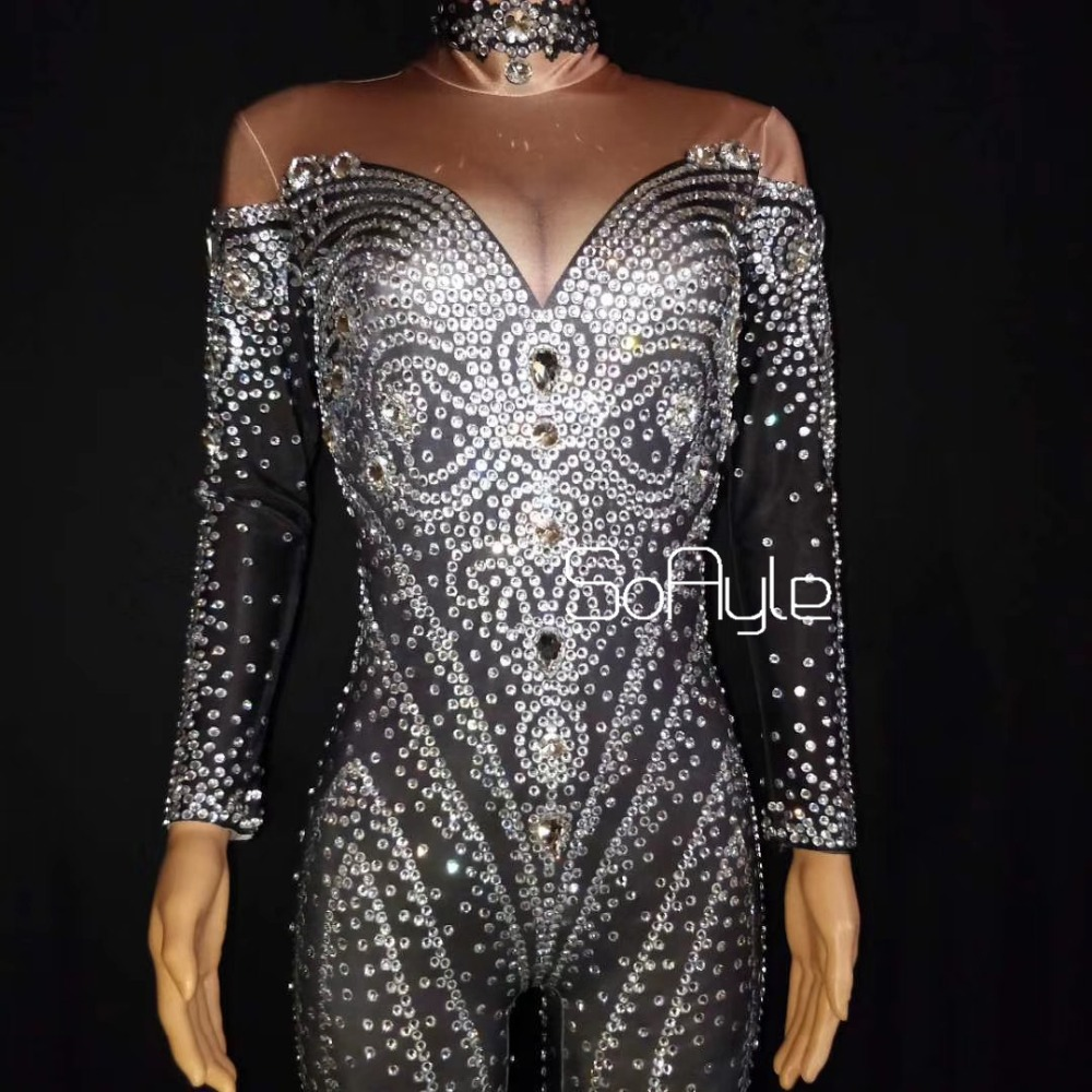 Costumes Acier Salopette Djds En Femelle Brillant Illusion Manches Full Strass Chanteur Stretch Acrobaties Noir Tube Gogo 466RdxnZ