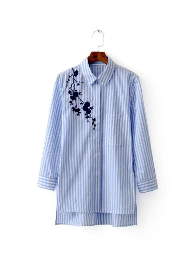 2016 Autumn Women Blue Stripe Embroidered font b Blouses b font Long Sleeve font b Shirt