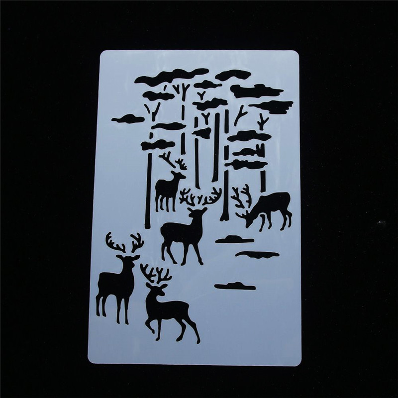 Christmas Elk Forest Stencil Airbrush Painting Art Cake Spray Mold School Supplies Stencils Template Panting DIY Decor Crafts