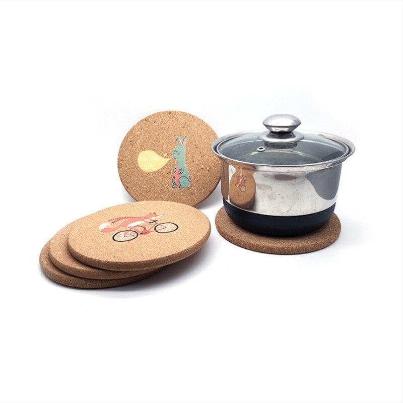 1pcs Cartoon Potholder Natural Cork Mat