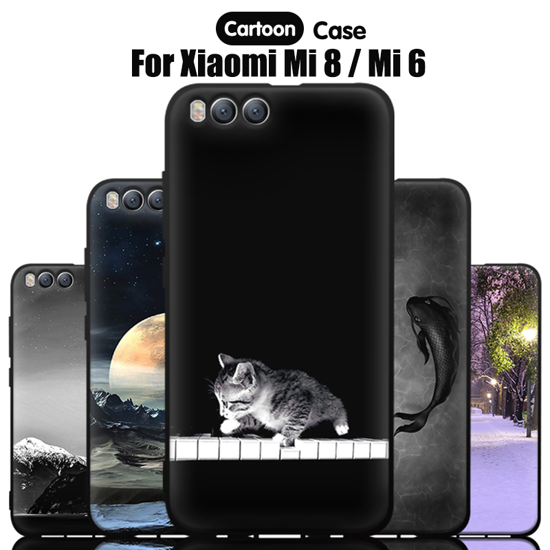 JURCHEN Silicone Phone Case For <font><b>Xiaomi</b></font> Mi 8 Case <font><b>Mi8</b></font> Cute Cartoon Print Soft Tpu Back Cover For <font><b>Xiaomi</b></font> Mi 8 Case Xiomi Mi 6 Mi6 image
