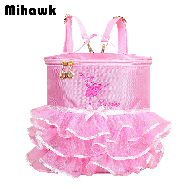 Mihawk Pink Cartoon Lace Kids Backpack Girls Ballet Bucket Bag Pencil Case Primary Toddler Bags Book Double Shoulder Zip Pouch