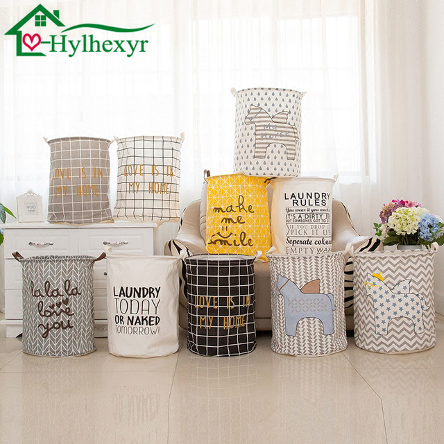 New Large 40 * 50 Cm Cartoon Folding Laundry Basket Stripe Cotton Storage  Barrel Dirty Clothes