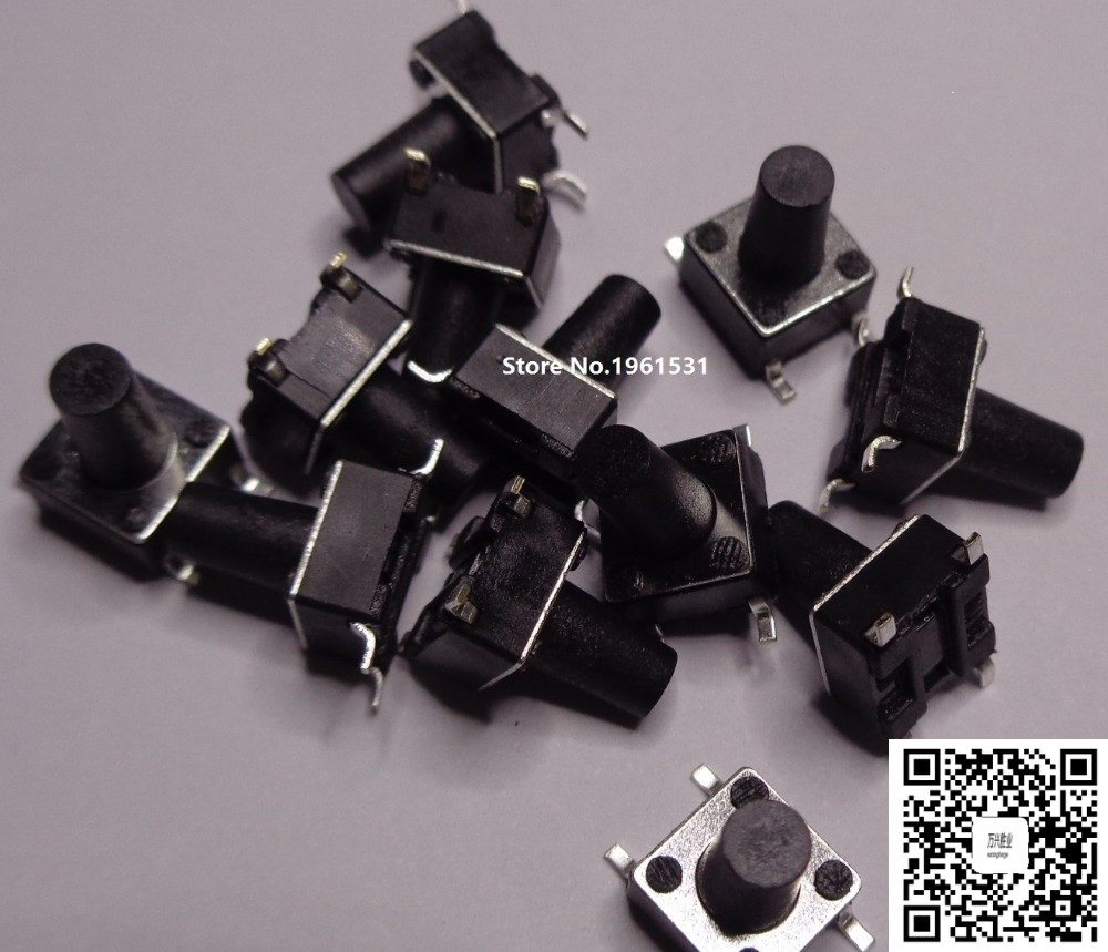 6*6mm 6X6X5mm-13mm SMD Tactile Tact Mini Push Button Switch Micro Switch Momentary SMD-4 6X6X5/6/7/8/9/10/11/12/13mm 50PCS/lot 50pcs lot 6x6x4 3mm 4pin smt g88 tactile tact push button micro switch self reset dip top copper free shipping