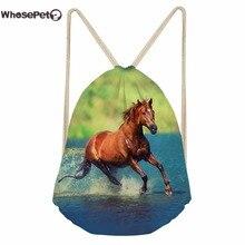 WhosePet Casual Bag Rucksack Drawstring Small 3D Horse Printing Shoulder Backpack for Children Boys Girls Infant