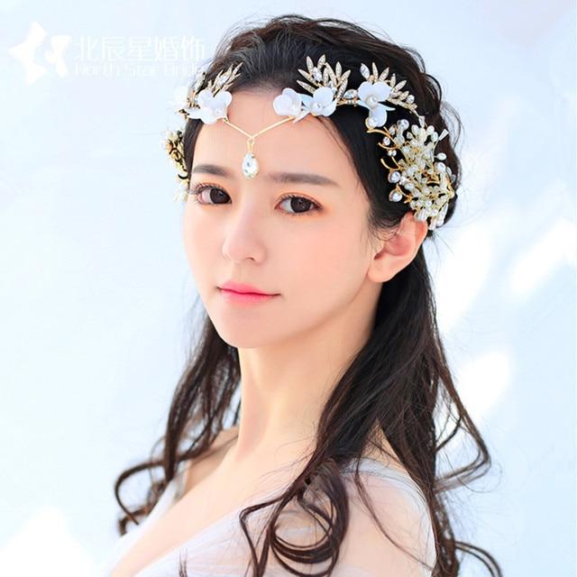 Coreano dea cerimonia nuziale della sposa copricapo di fiori di Strass Tiara  frontlet accessori abito da b2571ef123fb