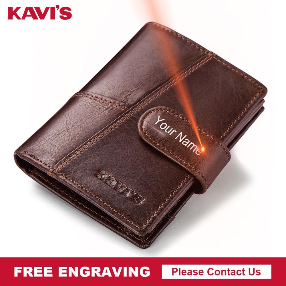 KAVIS Free Engraving Genuine Cow Leather Men Wallet Crazy Horse Coin Purse Portomonee Walet PORTFOLIO Cuzda Card Holder  Mini