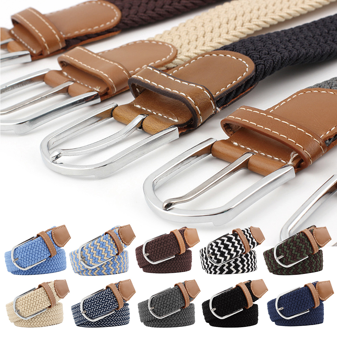 2018 Unisex Elastic Fabric Braided Belts for Male & Female Candy Colors New Style Belt Accessories Waist Belts