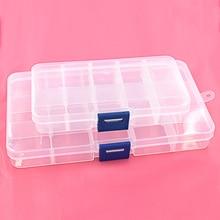 5pcs 단추 eyelets 저장 조정 가능한 플라스틱 10/15 구획 저장 상자 보석 귀걸이 상자 상자 저장 상자