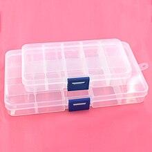 Caja de almacenamiento de plástico ajustable con ojales, 5 uds., caja de almacenamiento con 10/15 compartimentos, contenedor para pendientes de joyería