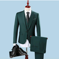 Slim Fit One Button Groom Tuxedos Groomsman Best Man Party Men Green SuitsMens Business Formal Wear (Jacket+Pants+Vest)