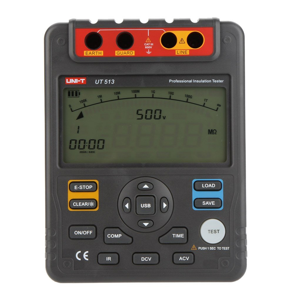 UT UT513 Digital Insulation Resistance Tester Test Meter Megger 1m-1000g Ohm 5000v Usb Interface