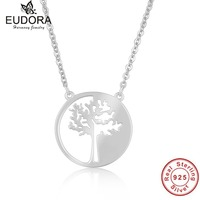 Not Fade Unique Life Lucky Tree Solid 925 Pure Sterling Silver Pendant Necklace For Women Girls