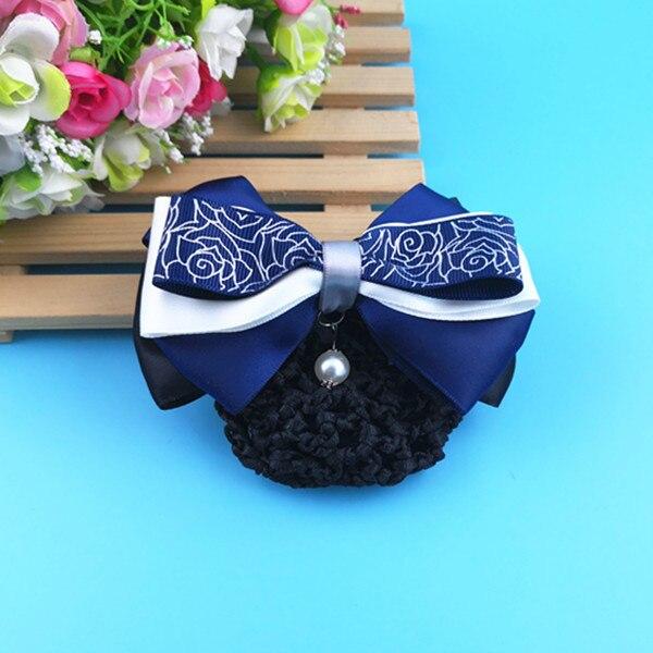 ASSP 5pcs Sweet Girl Satin Bow Barrette Lady Hair Clip Cover Bowknot Bun Snood Women Hair Snood  Hair Accessories