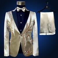 2018 Новый Для мужчин Костюмы золотой блеск Блёстки цветок этап певец шоу состоялся костюм Костюмы производительность комплекты 2 шт. куртка