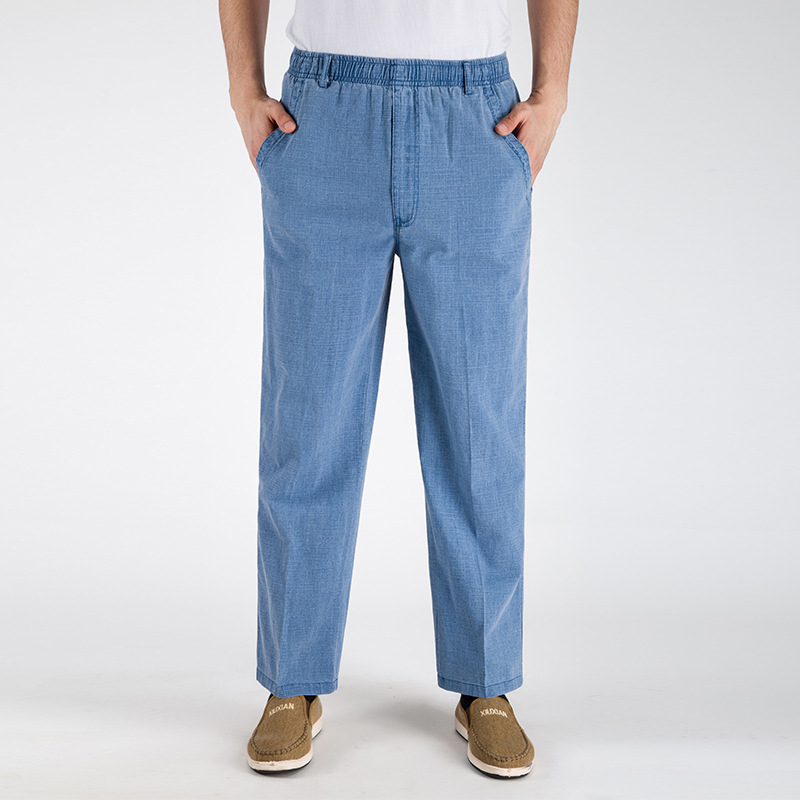2019 New Arrival Autumn  Summer Casual Pants Natural Cotton Linen Tall Waist Plus Size 5XL Flax Breathable Loose Men's Trousers