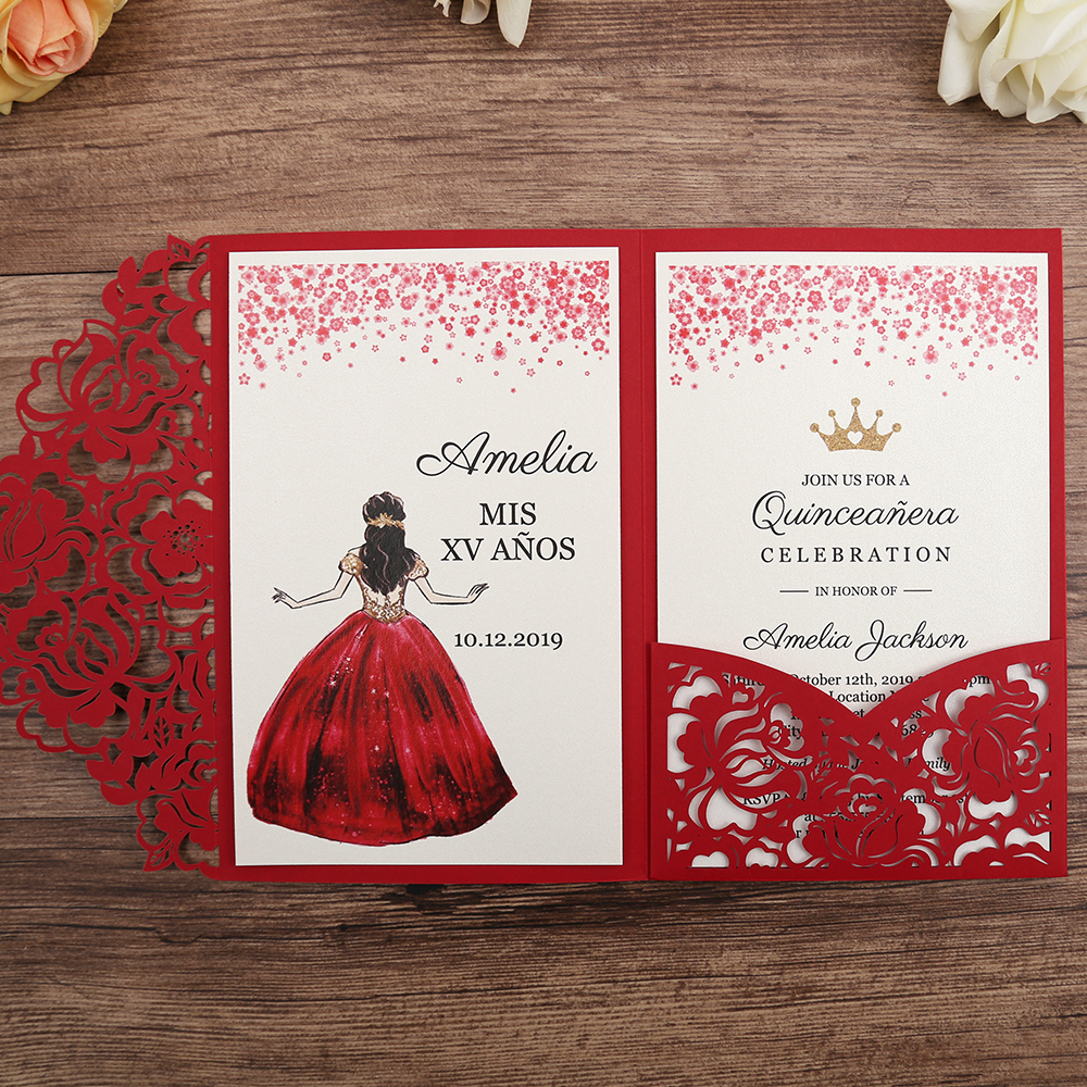 50pcs Red Laser Cut Floral Invitation Cards for Wedding Party Quinceanera Anniversary Birthday CW0008