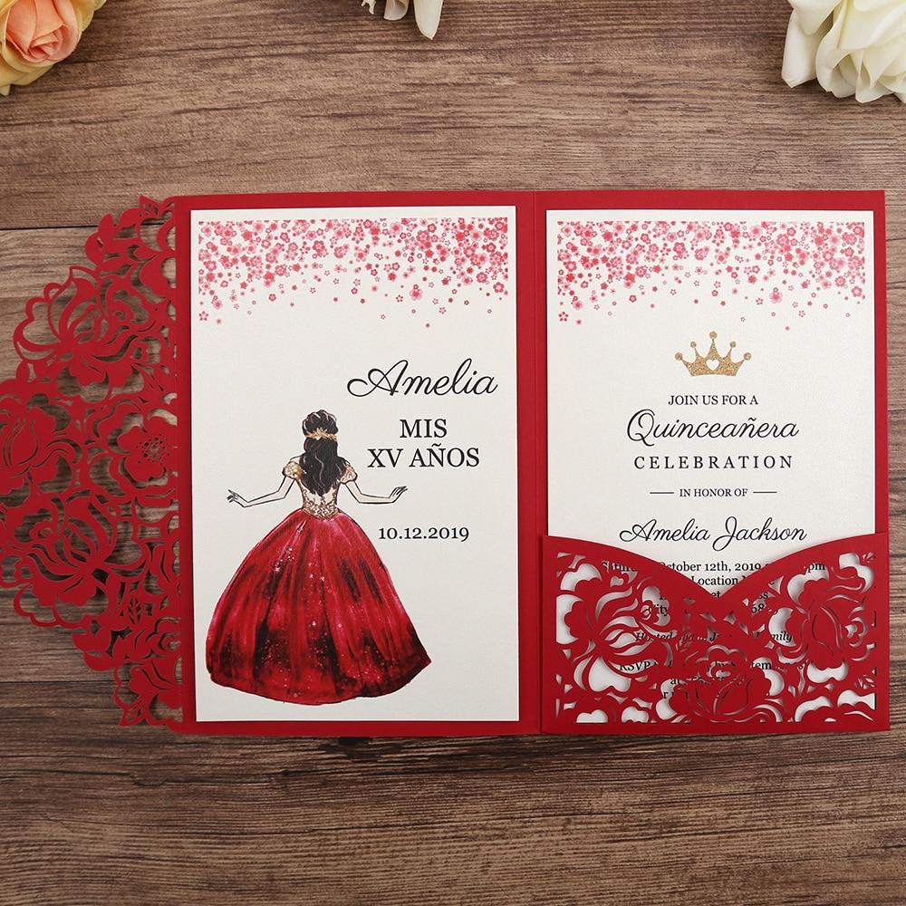 50 sztuk czerwony laserowo wycinane kwiatowy zaproszenia na ślub/impreza/Quinceanera/rocznica/urodziny, CW0008 w Kartki i zaproszenia od Dom i ogród na  Grupa 1