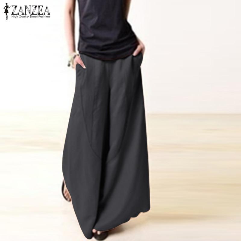 2018 Autumn ZANZEA Elegant Work Office   Wide     Leg     Pants   Casual Vintage Solid Elastic Waist Pockets Loose Long Trousers Pantalon