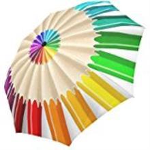 Rainbow Colored Crayon Custom Foldable Sun Rain Travel Umbrella 100% Fabric Aluminium High-Quality