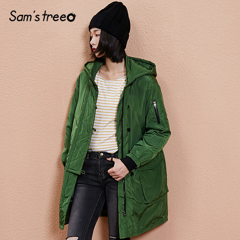 Samstree Vintage Winter Women Coat Solid Color Pocket Female Hooded Long Loose Coat Wide waisted Outwear