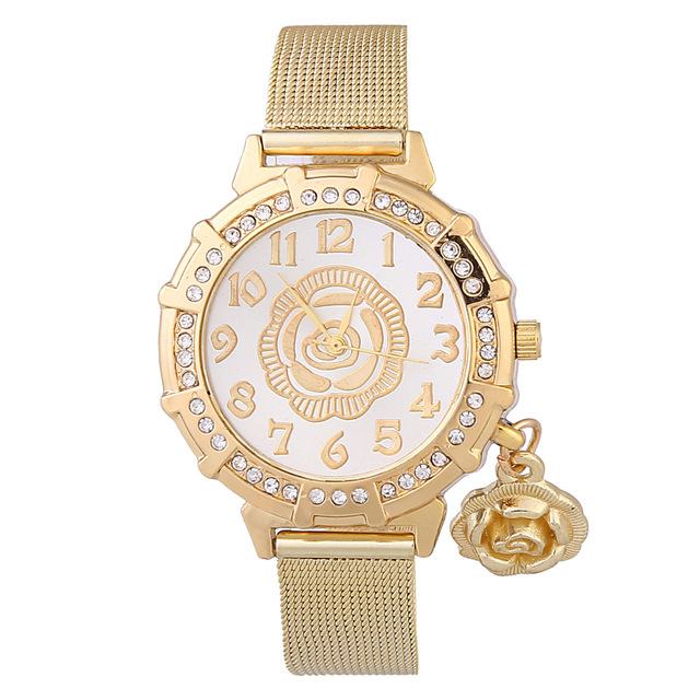 9 Style Top Brand Luxury Women Watches Golden Steel Mesh Rhinestone Bracelet Wat