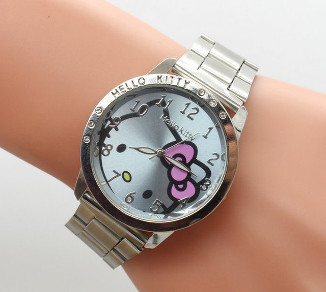1pcs/lot  New HELLO KITTY Watch with six drill For Kid Children Girl Lady Free Shipping