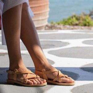 Image 3 - Arden Furtado sandales plates à boucle pour dames, tongs, chaussures de plage à bande étroite, grande taille 43, tendance été 2019