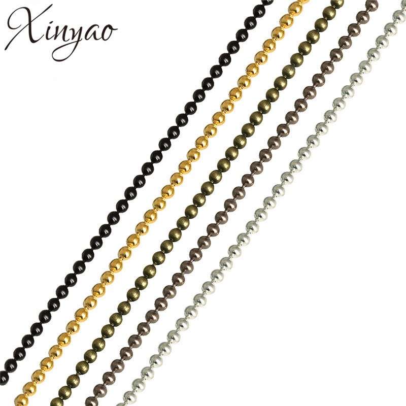 (Min Order$10) 10meters/Lot 2mm Gold/Black/Silver Ball Chains Free Shipping