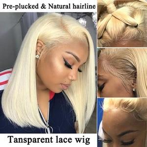 Image 5 - 613 dantel ön İnsan saç peruk düz kısa postiç 150 yoğunluk bal sarışın şeffaf dantel peruk Dolago renkli peruk Remy