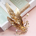 Gold Flower Leaves Wedding Prom Headpiece Vintage Bridal Hair Jewelry Comb Baroque Accessories